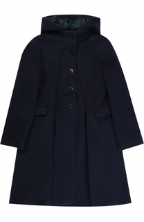 Шерстяное пальто свободного кроя с капюшоном Caf