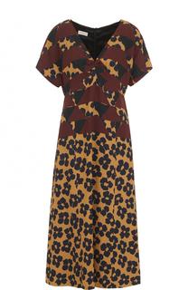 Платье-миди с принтом и V-образным вырезом Dries Van Noten