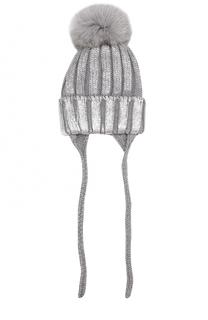 Шерстяная шапка с меховым помпоном и металлизированной отделкой Catya