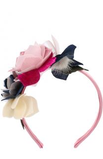 Текстильный ободок с цветочным декором Monnalisa