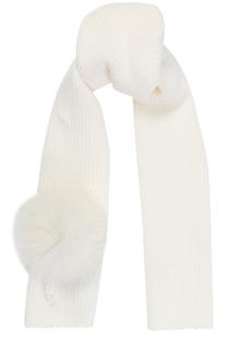 Шерстяной шарф с меховым помпоном Catya