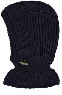 Шерстяная шапка фактурной вязки с воротником Il Trenino