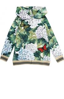 Хлопковый кардиган с цветочным принтом и аппликациями Dolce & Gabbana