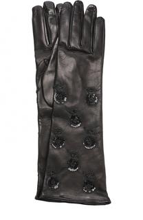 Удлиненные кожаные перчатки с декором из пайеток Valentino