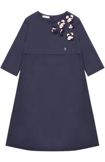 Платье-миди свободного кроя с цветочным декором I Pinco Pallino
