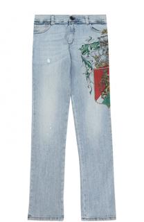 Джинсы прямого кроя с принтом и аппликацией Dolce & Gabbana