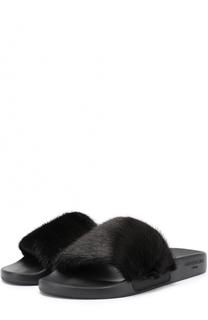 Резиновые шлепанцы с отделкой из меха норки Givenchy