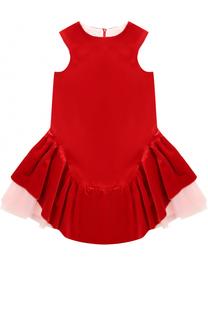 Хлопковое мини-платье с ассиметричной юбкой и многослойной подкладкой I Pinco Pallino