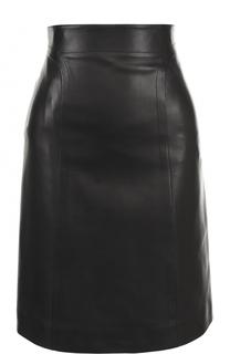 Кожаная мини-юбка с широким поясом Alaia