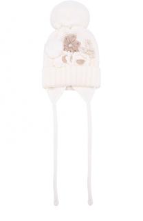 Шерстяная шапка с меховым помпоном и декором Catya