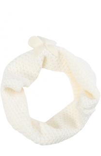Шерстяной шарф-снуд фактурной вязки с декором Catya