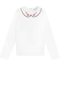 Хлопковая блуза с вышивкой и контрастной отделкой Dolce & Gabbana