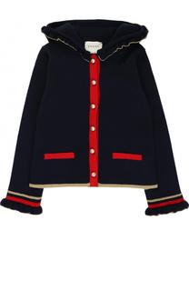Шерстяной кардиган с контрастной отделкой и оборками Gucci