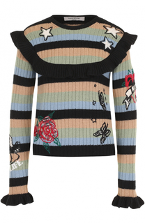 Пуловер в полоску с оборками Valentino