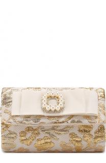 Текстильный клатч с металлизированной отделкой и декором David Charles