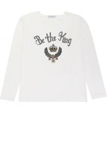Хлопковая футболка с вышивкой и аппликациями Dolce & Gabbana