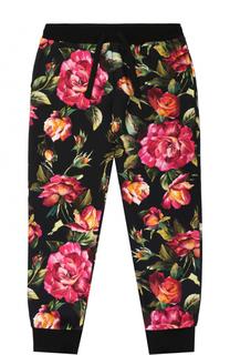 Хлопковые джоггеры с цветочным принтом Dolce & Gabbana