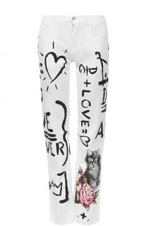 Укороченные джинсы с принтом Dolce & Gabbana