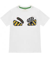 Хлопковая футболка с аппликациями Fendi Roma