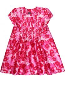 Мини-платье А-силуэта из смеси хлопка и шелка с принтом Oscar de la Renta