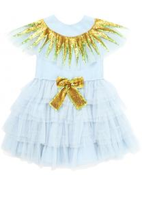 Многослойное платье с бантом и отделкой из пайеток Gucci