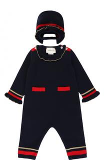 Шерстяной комплект из комбинезона с шапкой Gucci