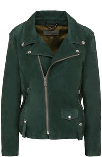 Замшевая куртка с принтом на спинке и косой молнией Golden Goose
