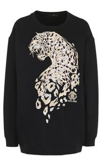 Удлиненный свитшот с вышивкой в виде леопарда Roberto Cavalli