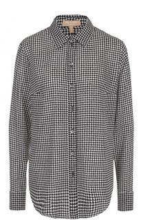 Шелковая блуза с принтом гусиная лапка Michael Kors