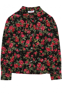 Шелковая блуза с цветочным принтом и бантом Dolce & Gabbana