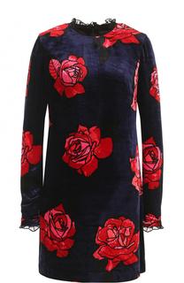 Бархатное мини-платье с цветочным принтом Markus Lupfer