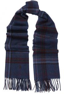 Шерстяной шарф в клетку с бахромой Polo Ralph Lauren