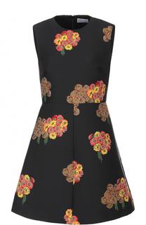 Приталенное мини-платье с цветочным принтом REDVALENTINO