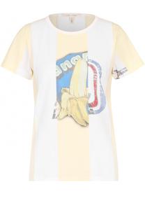 Хлопковая футболка в полоску с принтом Marc Jacobs