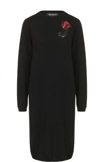 Шерстяное платье прямого кроя с вышивкой пайетками Markus Lupfer