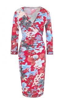 Платье-миди с цветочным принтом и драпировкой Leonard