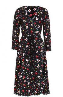 Шелковое платье-миди с запахом и поясом Marc Jacobs