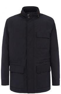 Удлиненная куртка на молнии с кожаной отделкой Ermenegildo Zegna