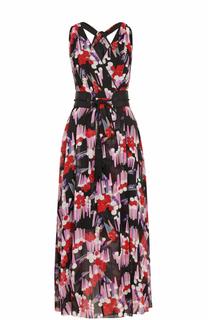Шелковое платье-миди с принтом и поясом Marc Jacobs