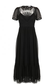Шелковое платье-миди с кружевными вставками REDVALENTINO