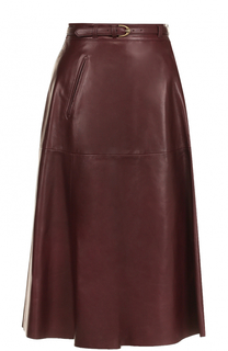 Кожаная юбка-миди с ремнем Ralph Lauren