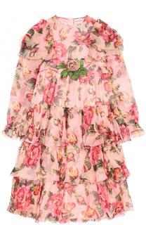 Шелковое платье с оборками и цветочным принтом Dolce & Gabbana