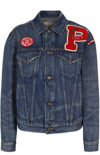 Джинсовая куртка с потертостями и нашивками Polo Ralph Lauren