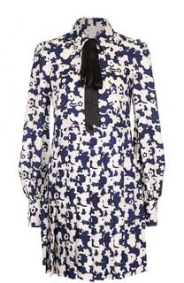 Шелковое платье с принтом и воротником аскот Marc Jacobs
