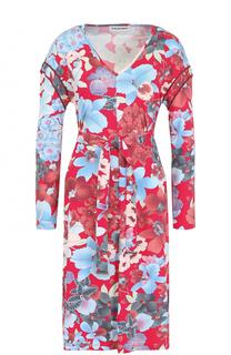 Платье-миди с цветочным принтом и поясом Leonard