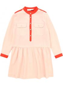 Мини-платье с контрастной отделкой и накладными карманами Stella McCartney