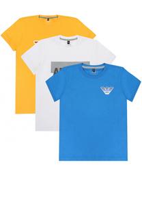 Хлопковый комплект из трех футболок с принтом Giorgio Armani