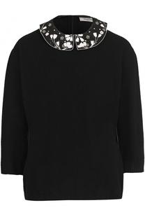 Пуловер с укороченным рукавом и декорированным воротником Valentino