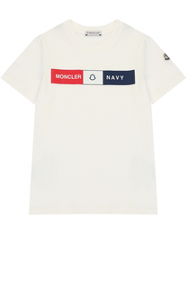 Хлопковая футболка с принтом Moncler Enfant