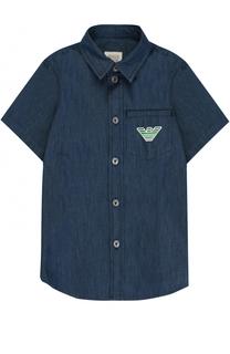 Рубашка из денима с логотипом бренда Giorgio Armani